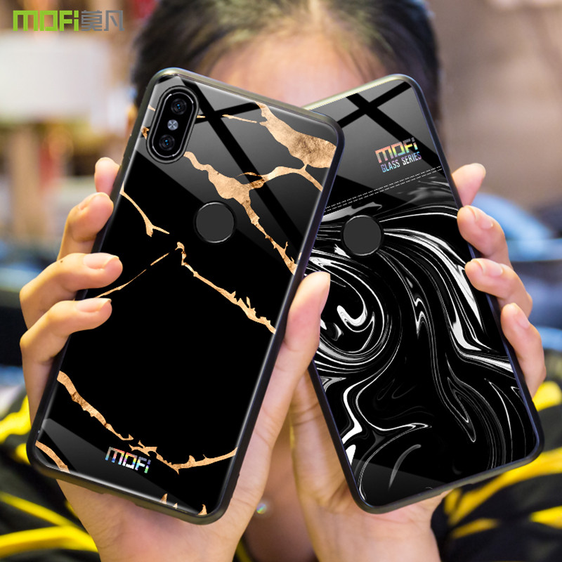 Redmi note 5 cas pour Xiaomi redmi note 5 cas couverture Mofi trempé couvercle en verre redmi note 5 capa coque marbre grain noir blanc