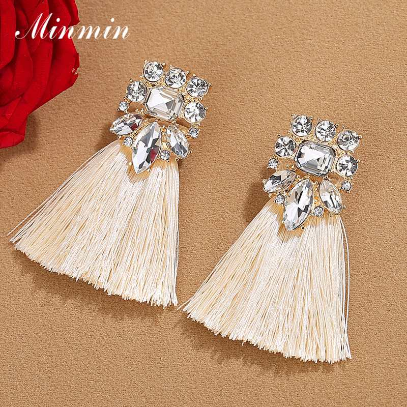 Minmin Vintage Bohemian Long Drop Tassel Earrings for Women Statement Ethnic Fringe Dangle Earrings Fashion Jewelry 2019 EH1488(China)
