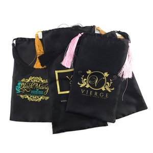 Сатиновая упаковочная сумка с логотипом на заказ, женская сумка для наращивания/наращивания волос, сумка для хранения волос высокого качес...