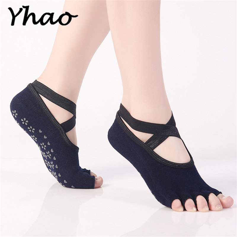 Yhao Brand Quick-Dry Half Toe Ballet Socks Antiskid Yoga Socks Floor Sports Socks Good Grip Women Cotton Pilates Socks