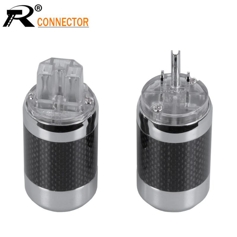 2pcs/1pair New arrival Hi-End Grade Power Connectors Male&Female Jack Carbon fiber HiFi Audio Speakon AC Power Plug nobsound hi end audio noise power filter ac line conditioner power purifier universal sockets full aluminum chassis