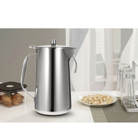 High Quality European Stainless Steel Cold Water Pot Ice Tea Jug Kettle Water Pitcher With Lid and Spout Kitchen Tool