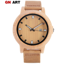 GNART Men Watches Leather Wood Mens Wooden Watches Yellow Digital Watch Gifts Top Brand Luxury