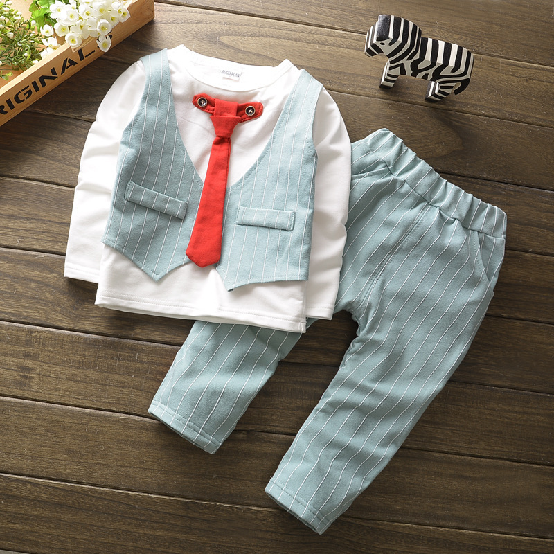 BibiCola baby boys spring autumn clothing formal kids clothes suit infant boys clothing set gentleman suits birthday outfits