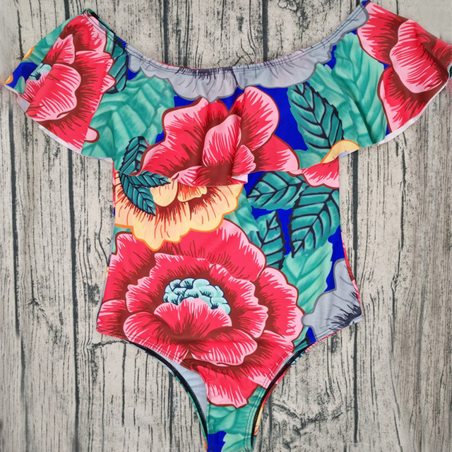 Sexy Women One Piece Swimsuit Off Shoulder Swimwear Ruffle Floral Print Bikini Sets Women Bathing Swimming Suit