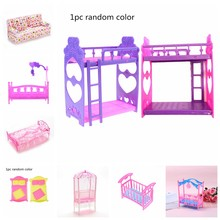 1pcs 12 Styles Fashion Plastic Bed Bedroom Furniture For Dolls Dollhouse Pink Yellow Or Purple Girl Birthday Gift(China)