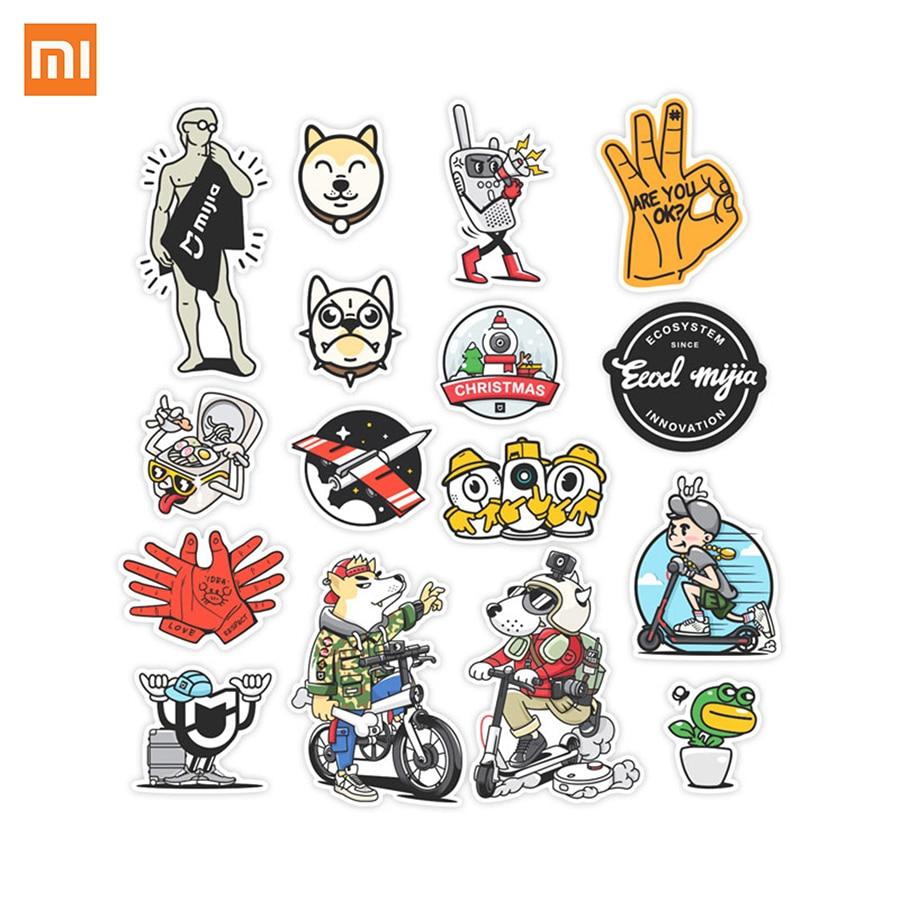 Xiaomi Mijia Autocollants Mignon de Bande Dessinée Jouet Animal Kawaii Pvc Je Série Autocollant pour ordinateur portable Téléphone Enfants 16 Pcs