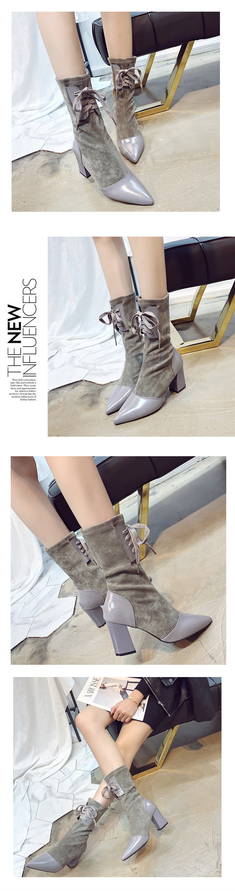 Women Mid-Calf Solid Casual Lace-up Flock Shoes 12
