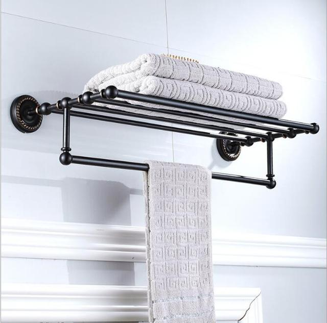 Black Oil Brushed Fixed Bath Towel Holder Wall Mounted Towel Rack 60 ...