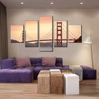 San Francisco Golden Gate pont impression sur toile grande Photo 5 pièces affiche modulaire peinture bureau boutique décor mur Art livraison directe