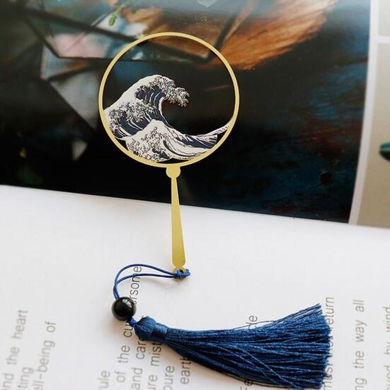 Shenlaichuan Surf Fan Wave Metal Fringed Bookmarks Creative Brass Elegant Literary Exquisite Gift Bookmark