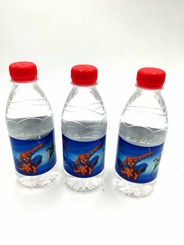 6 PCS/LOT SPIDER-MAN BOTOL AIR BOTOL LABEL LABEL ANAK BIRTHDAY PARTY DEKORASI SPIDER SPIDERMAN STICKER
