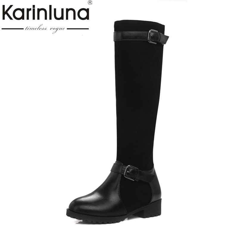 KARINLUNA Brand New Large Size 34-44 Square Heels Women Shoes Woman Riding Boots Winter Shoe Black Blue Brown Buckles Chaussure ...