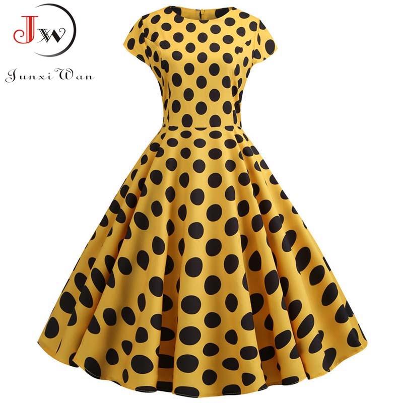 Yellow Polka Dot Print Women Summer Dress Vintage Swing Rockabilly Dress Robe Femme Elegant Party Plus Size Casual Midi Vestidos