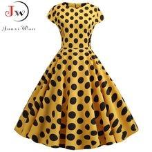 Amarillo con lunares mujer verano vestido Vintage Swing Rockabilly vestido túnica mujer elegante fiesta de talla grande Casual Midi Vestidos