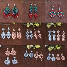 Leather Inlaid Colored Crystal Rhinestone Flower Drop Earrings for Women Korean Fashion Big Earings Indian Jewelry Long