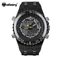 Äkta INFANTRY Luxury Brand Analog LED Klockor Män Gummi Quartz Klocka Mäns Taktiska Kronograf Sport Armbandsur Relogios
