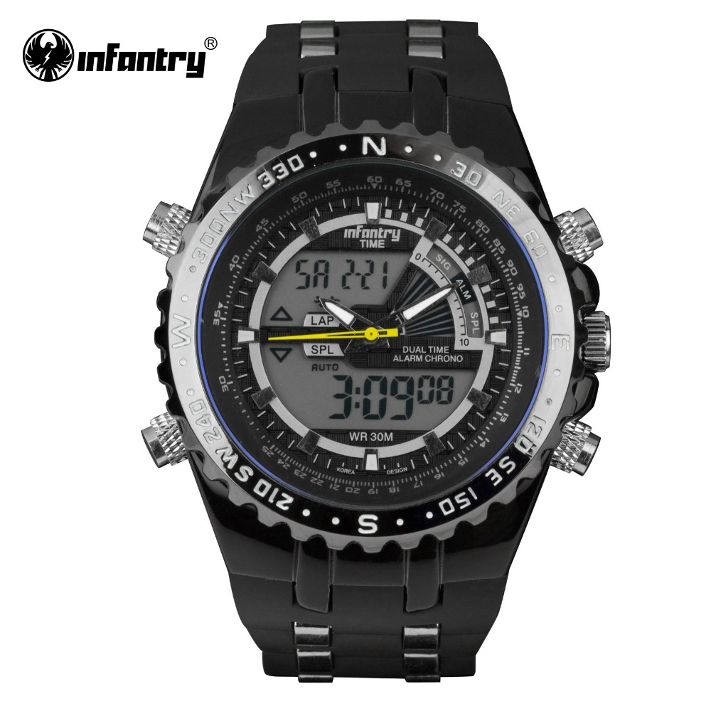 Genuine INFANTRY Luxury Brand Analog LED Watches Men Rubber Quartz - Men's Watches