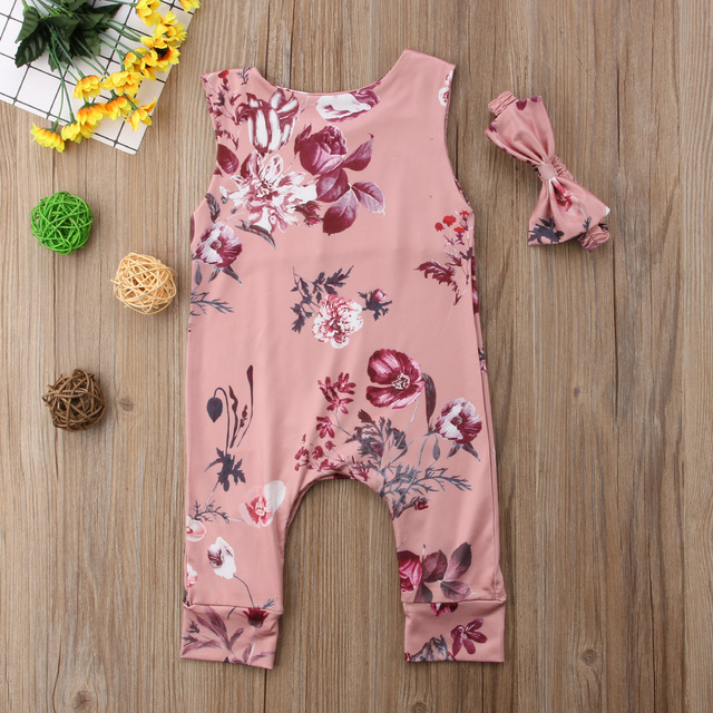 Lovely Pink Floral Romper with Headband for Baby Girl