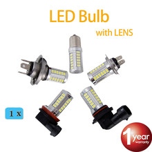 flytop Super White H4 H7 H8 H11 9005 9006 1156 1157 33SMD LED Auto Fog Lamp Car Bulb 6000K with LENS 5630 LED Chip(China)