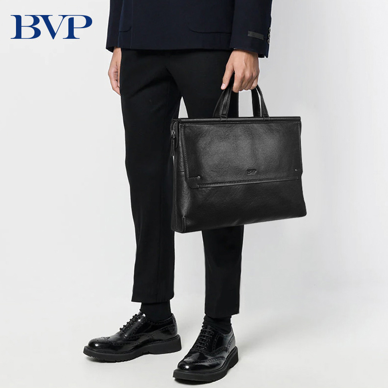 BVP Brand High Quality Men Briefcase Bag Genuine Leather Laptop Bag Business Man Handbag  Cow Leather Male Computer Bag 50
