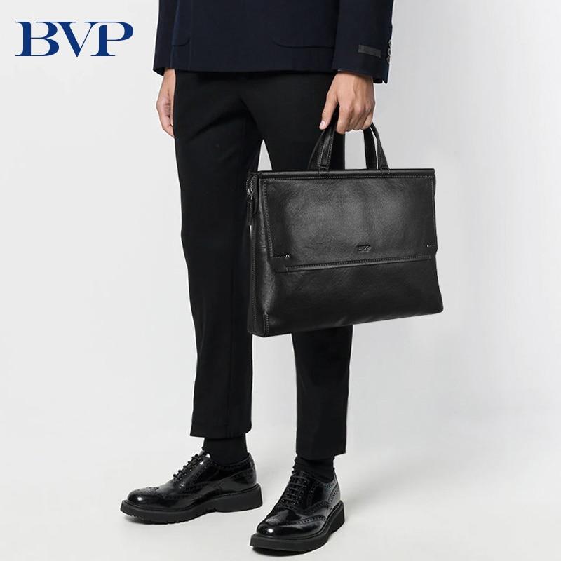 BVP Brand High Quality Men Briefcase Bag Genuine Leather Laptop Bag Business Man Handbag  Cow Leather Male Computer Bag 50