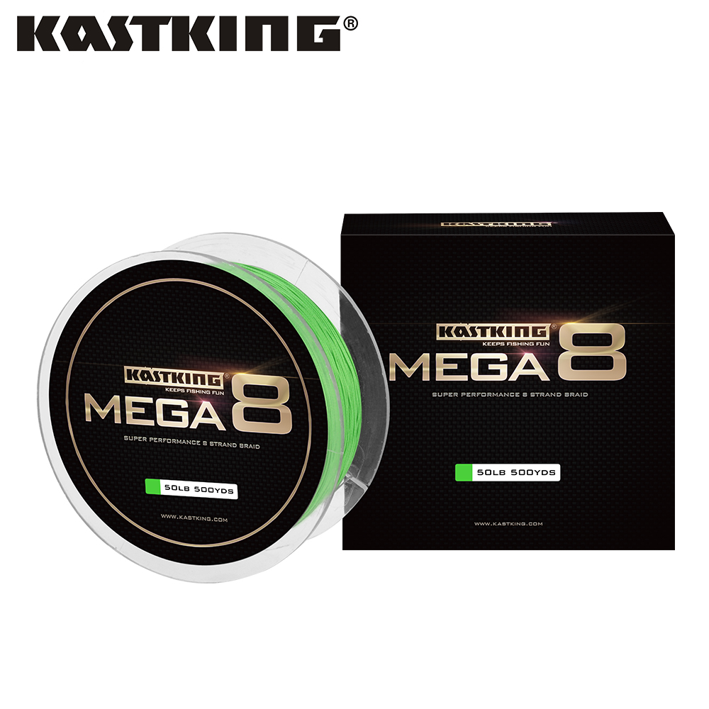 KastKing 2018 New Mega 8 457m/500Yds 10-80LB 8 Strand Japan PE Braided Fishing Line Multifilament Fishing Wire for All Fishing