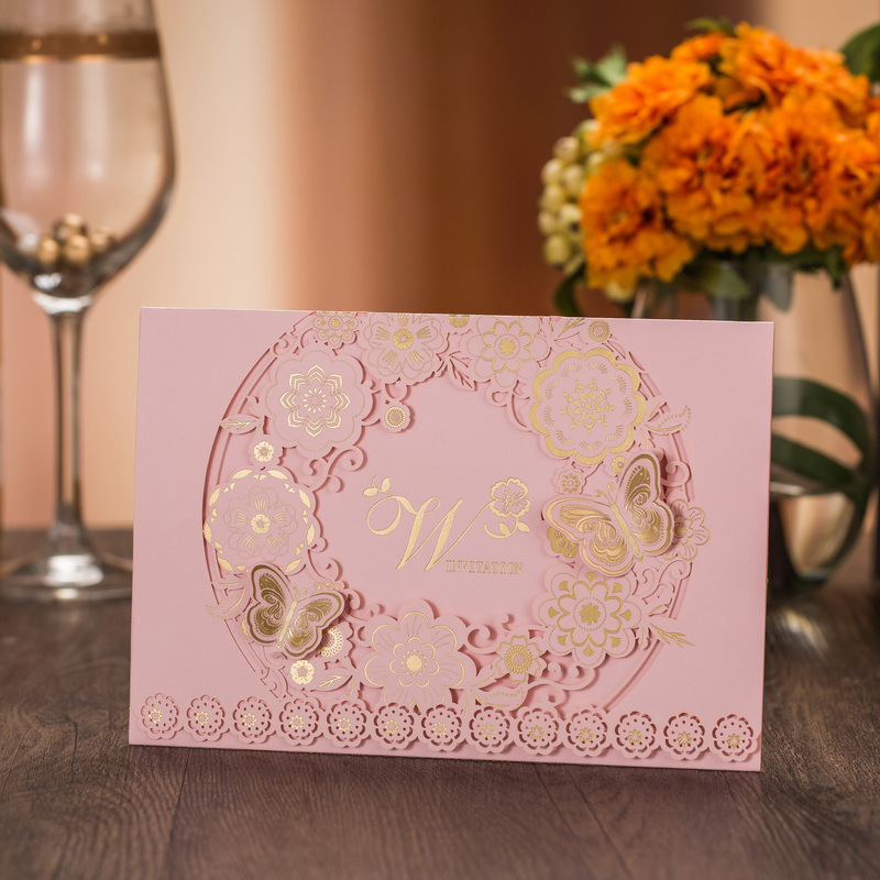100pcs Pink Laser Cut Wedding Invitations Cards Kit With 3D Butterfly Hollow Flora for Marriage Engagement Wedding Supplies