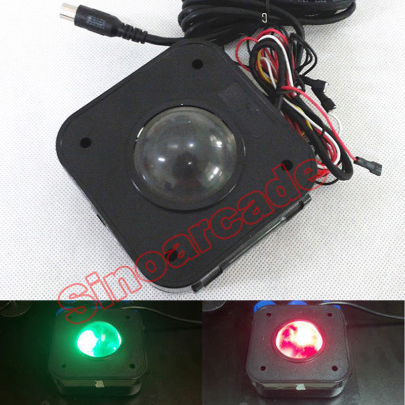 Arcade Game 4.5CM Illuminated LED Trackball mouse PS / 2 konektor PCB untuk mesin arcade game