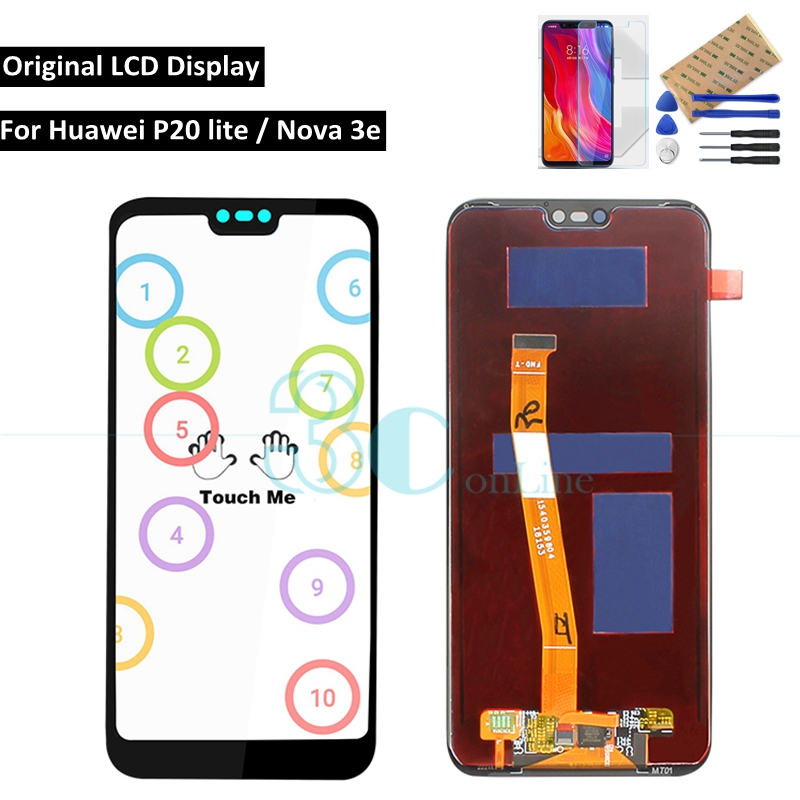 Original for Huawei P20 lite LCD Display Touch Screen Digitizer Assembly 5 84 Nova 3e IPS