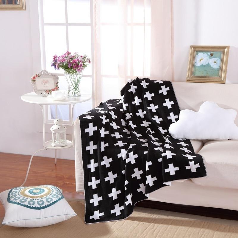 все цены на 130x160CM Cross Classic Baby Knitted Blanket Bedding Swaddling Wrap Bed Quilt Sleeping Cover Gift Crawling Play Mat онлайн