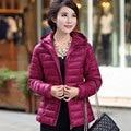 2017 Winter Parkas Ultra Light Jacket Women Hooded Coat Plus Size 5XL Solid Color Thin Jackets Warm Female Outerwear Coats Y316