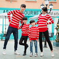 2017 sweater mommy and me clothesfashion family clothing cotton mother daughter matching clothes full sleeve striped 5442