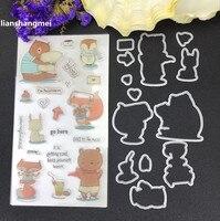 Fox Bear Metal Cutting Dies And Stamp Stencils For DIY Scrapbooking