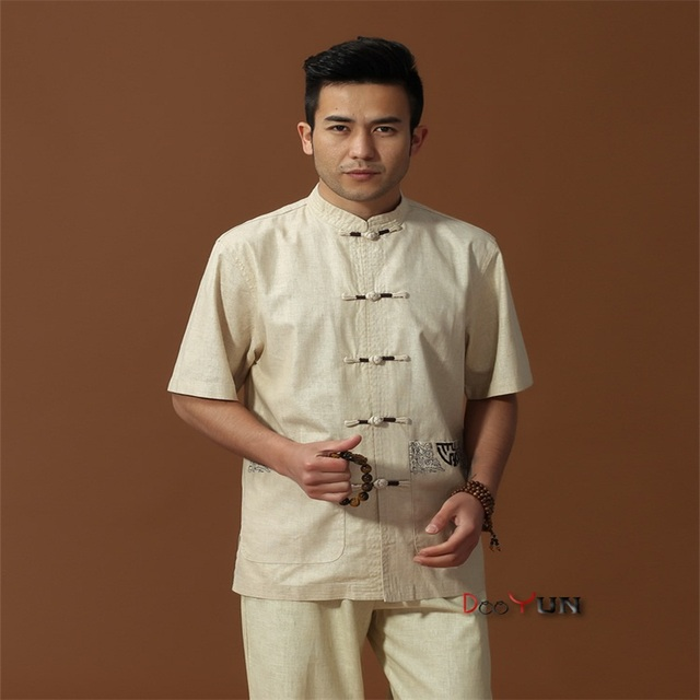 Discount Beige Men's Linen Shirt Top Chinese Novelty Kung Fu Tang Suit With Embroidery Free Shipping M L XL XXL XXXL
