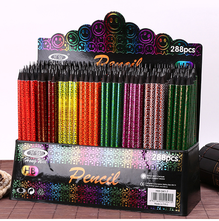 288 présentoir flamme smiley visage peinture de qualité professionnelle en bois noir HB crayon croquis dessin ensembles de crayons