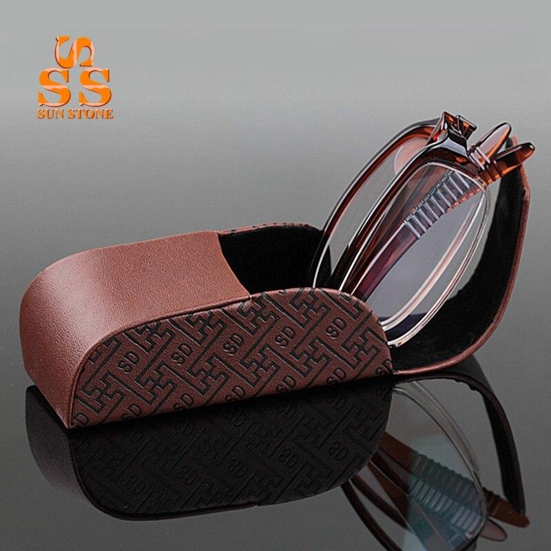 Brand Designer Women Men Fashion Portable Aspheric Hard <font><b>Resin</b></font> Lens Reading <font><b>Glasses</b></font> <font><b>High</b></font> <font><b>Grade</b></font> Foldable Presbyopic Eyewear G415