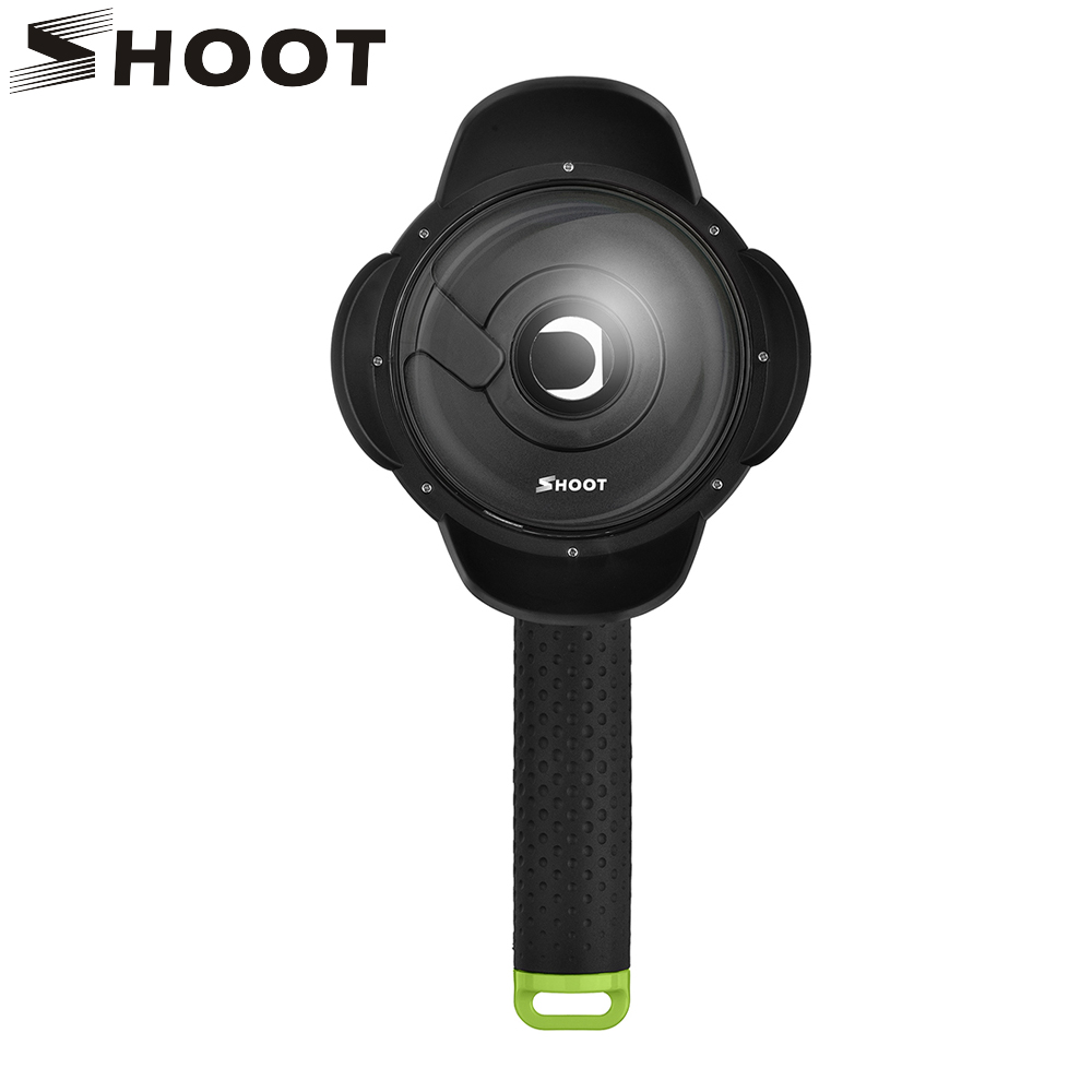SHOOT 4 inch Underwater Dome Port Lens for Xiaomi Yi 2K Camera With Hand Grip Waterproof Case Diving Accessories for Xiaomi Yi