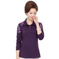 WAEOLSA Middle Aged Womens Casual Shirt Green Purple Navy Blue Floral Blouses Mother Cotton Tops Woman Turn Down Collar Shirt