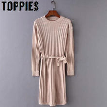 2019 Autumn and Winter O-neck Long Sleeves Knit Sweater Dres