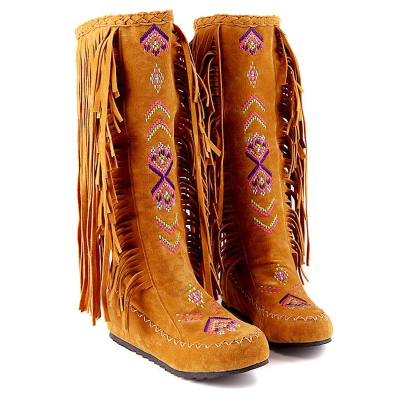 Fashion Chinese Ethnic Style Sheepskin Leather Ladies Tassel Flat Heel Boots Ladies Tassel Knee High Boots Size 34-48Fashion Chinese Ethnic Style Sheepskin Leather Ladies Tassel Flat Heel Boots Ladies Tassel Knee High Boots Size 34-48