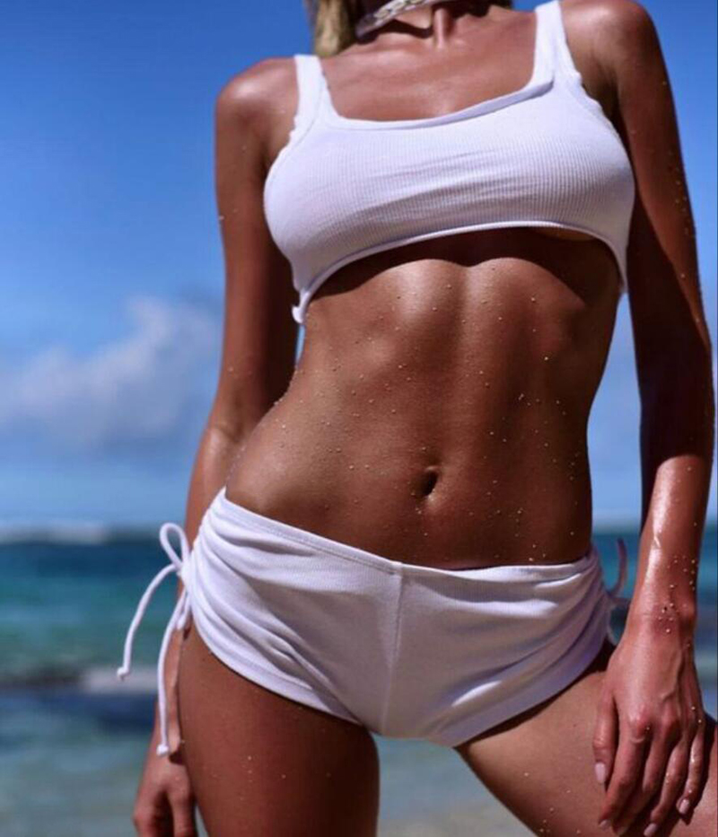 ZTVitality 2019 nueva llegada Sexy vendaje blanco traje de baño mujeres playa alta cintura Bikini brasileño traje de baño femenino Biquini S-L