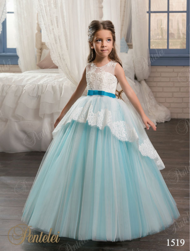 Lace Flower Girl Dress Birthday Ball Gown Wedding Party Holiday Bridesmaid Long Pageant Dresses For Girl Mother Daughter Dresses 2017 new flower embroidery girl dresses pageant party wedding bridesmaid ball gown prom princess long dress girl clothes