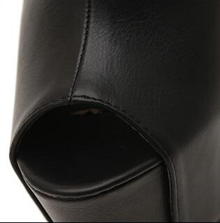 Sexy Sapatos Negro Zapatos talón Sandalias Plataforma Bombas Mujer Toe Alto Grueso blanco Sansals Talón 16 Peep Cm Mujeres Feminino wZAc6T
