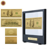 WR American Colorful Gold Banknote Collectible 24k 999.9 Gold Plated Note Money Birthday Souvenir Gifts with Showing Stand