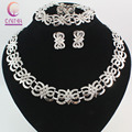 Fashion Gorgeous Vintage Jewelry Sets Silver Plated Dubai Plated Crystal Design Charms Wedding Bridal Jewelry