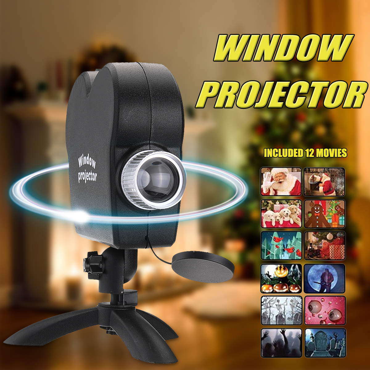 2018 window display projector lamp holiday video halloween christmas led spotlights 12 movies festival lamp for kids gift