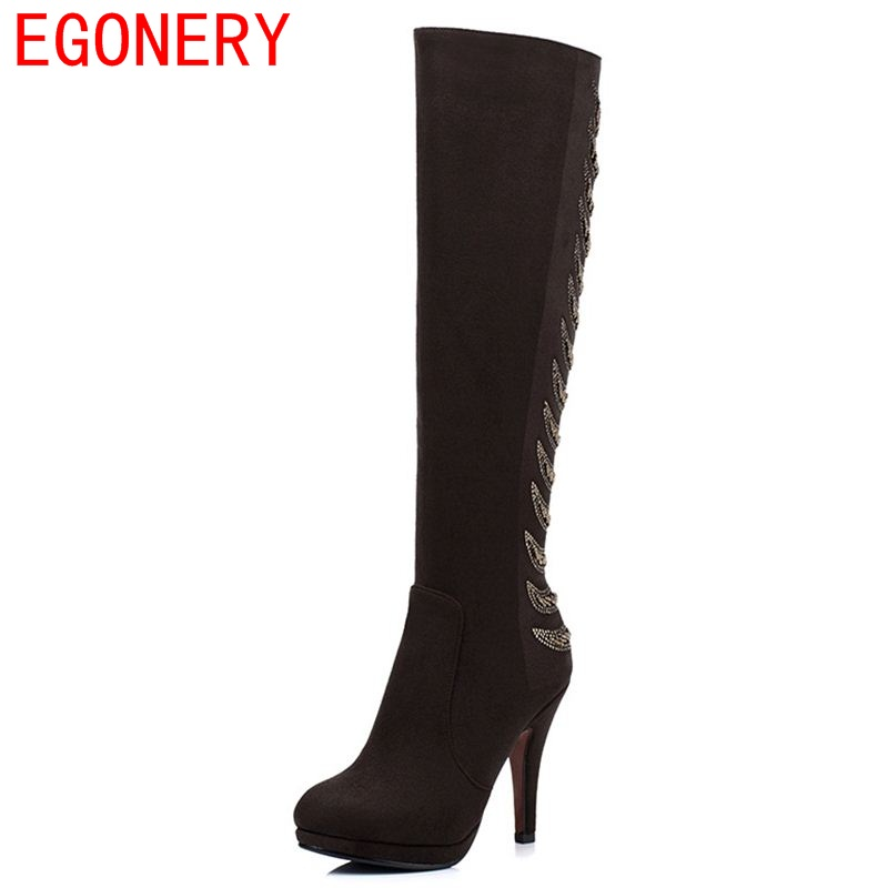 ФОТО EGONERY shoes 2017 winter women fashion high boots round toe platforms super high heel string bead long boots woman new style
