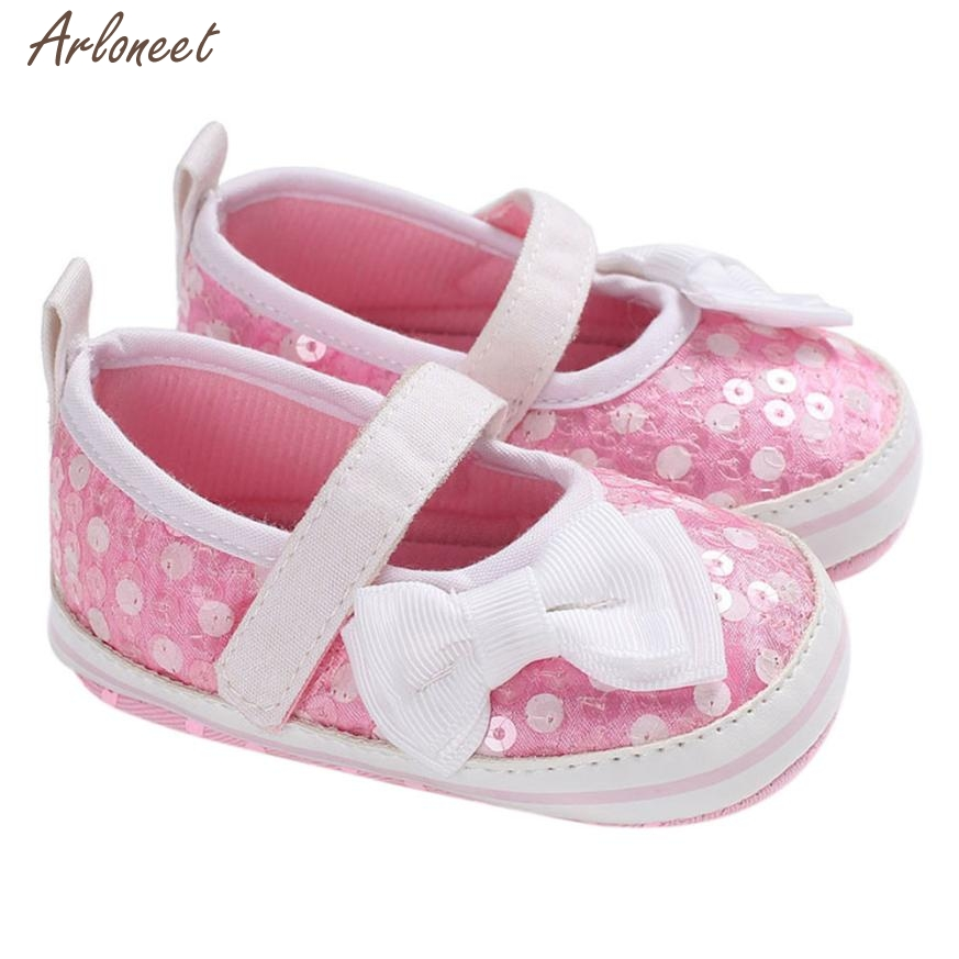 2018 toddler girls summer shoes Butterfly-knot Sequins Soft Sole Crib Toddler Newborn Shoes MAR21