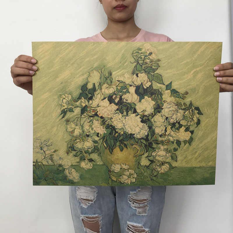 Mling 1 PC 51.5x36 cm rétro papier Kraft Van Gogh série affiche moderne Art abstrait peinture à l'huile Bar café mur autocollant décoratif